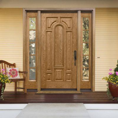 0292 oak Door with cardinal clear low e glass