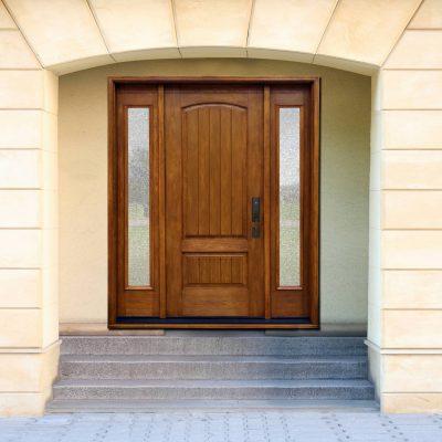 C101 rustic cherry door with universal granite glass