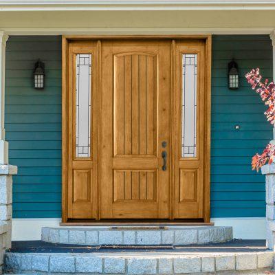 KA166 knotty alder door with ODL topaz glass
