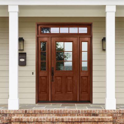 M259 mahogany Door with cardinal clear low e glass