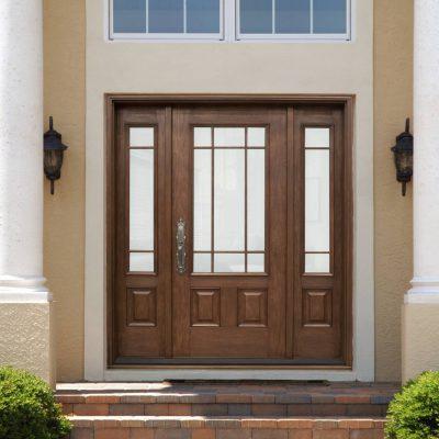 M268 mahogany Door with universal sandblasted glass