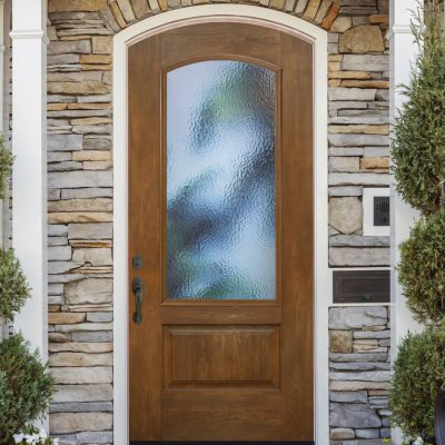 c118 rustic cherry Door with ODL cumulus glass