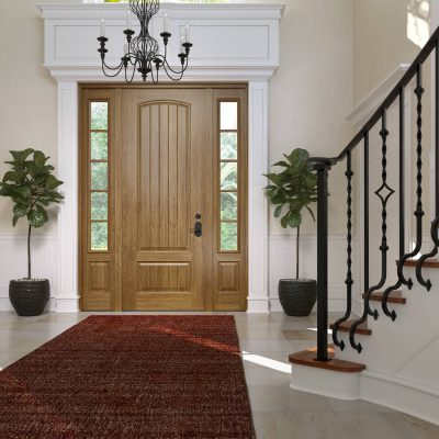 c145 rustic cherry Door with clear low e glass